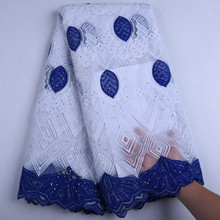 R  Blue African Lace Fabric 2019 French Cord Lace Fabric Embroidered Nigerian Tulle Lace Fabric With Stones For Wedding Y1570
