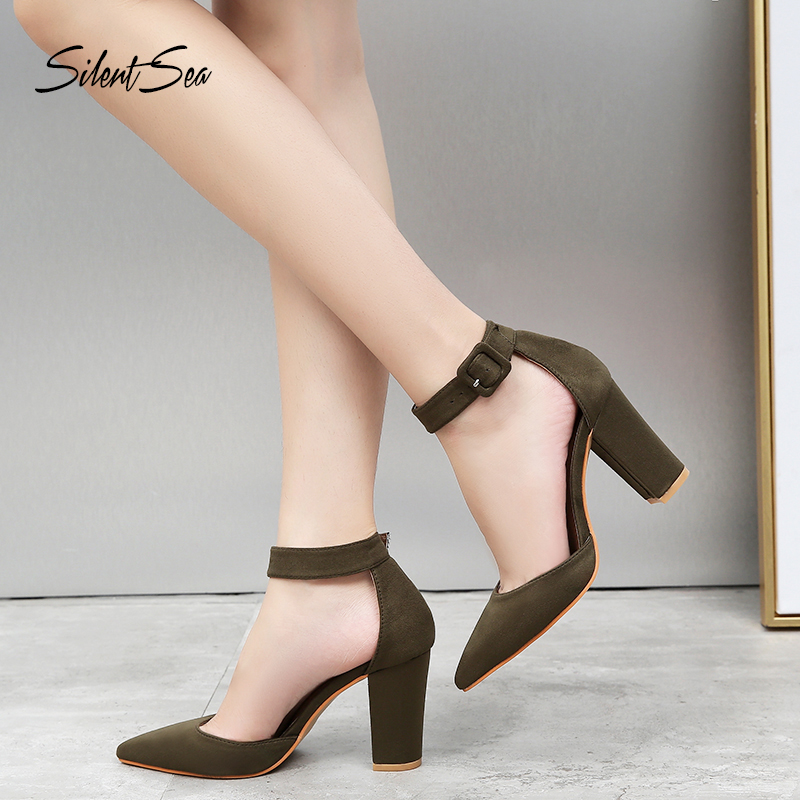 Silentsea Sandals Pumps-Block Buckle-Strap Party-Shoes Classic High-Heels Female Thick