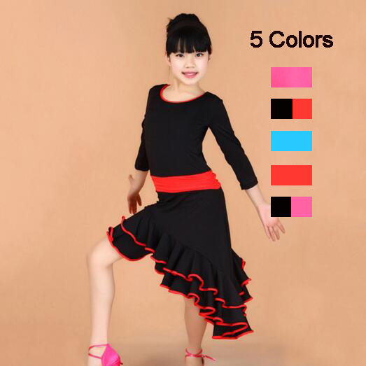 Long Sleeve Standard Latin Competition Dress Girl Kids Children Modern Dance Ballroom Tango Rumba Samba Cha Cha Salsa Costumes