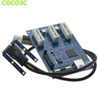 Mini PCIe 1 to 3 PCI express 1X slots Riser Card Expansion Splitter adapter Mini ATX Laptop to PCI e Port Multiplier