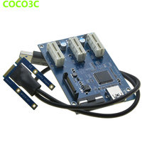 Mini PCIe 1 To 3 PCI Express 1X Slots Riser Card Expansion Splitter Adapter Mini ATX