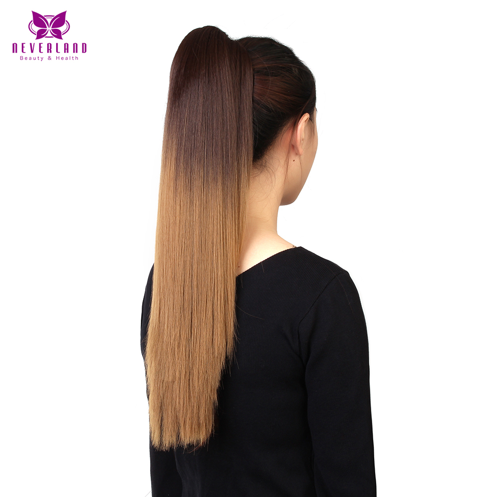 Neverland 20 50cm Brown Ombre Straight Synthetic Claw On Ponytails Heat Resistant Pony Tail Hair Extensions