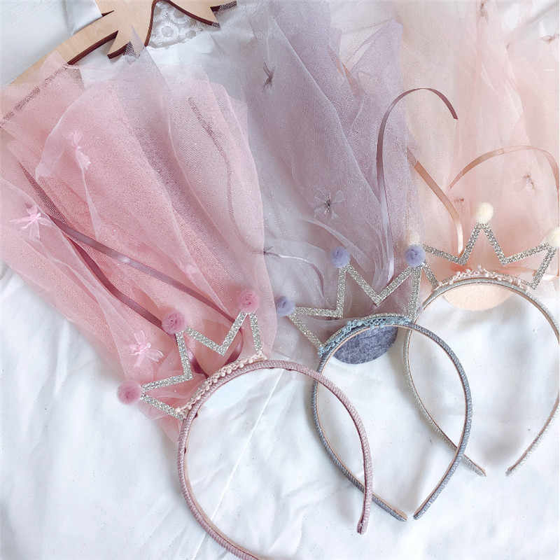 5pcs/lot Wedding Flower Girls Veils Headdress Princess Crystal Crown Hairbands Children Kids Veils Voile Fille Hair Accessories