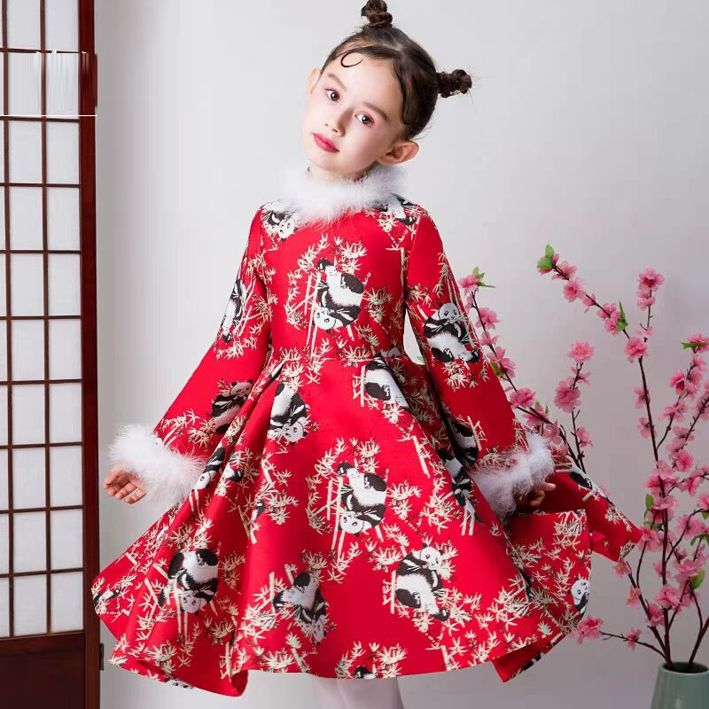 Chinese Traditional Style Children Girls Red Color Birthday New Year Cheongsam Dress Baby Kids Elegant Evening Wedding Dress red full length wedding dress elegant evening gowns chinese women embroidery flower qipao sexy cheongsam bride toast clothing