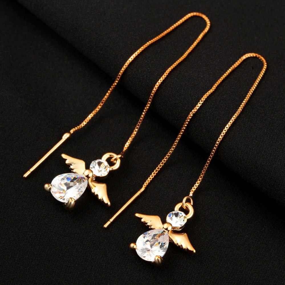 Detail Feedback Questions about Hesiod Fashion Crystal Water Drop Earrings  for Women Wedding Angle Bear Crown Long Tassel Dangle Earring Statement  Jewelry ... 8a519ea58125