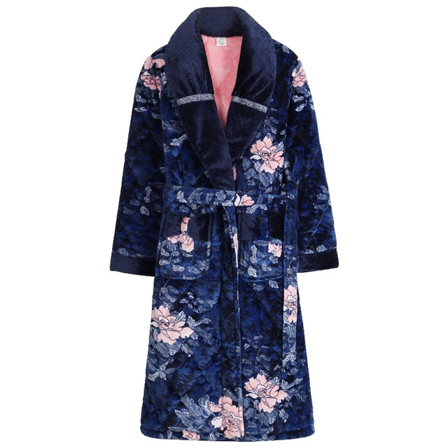 Plus size M-XXXL nightgown ladies winter three-layer thick warm flannel  quilted pajamas long coral fleece bathrobe dressing gown 0af2a010c