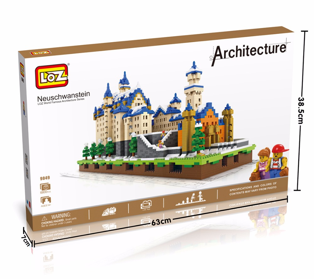 LOZ Diamond Blocks Neuschwanstein DIY Building Toys Swan Stone Castle World Building Educational Blocks for Children Gifts 9049 mr froger loz diamond block easter island world famous architecture diy plastic building bricks educational toys for children