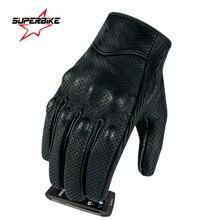 Gants de moto en cuir pour hommes et femmes, à écran tactile, mitaines dété, pour cyclisme, pour course