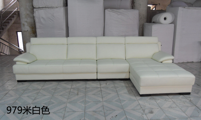 Free Shipping European Style Living Room Furniture Top Grain Leather L  Shaped Corner Sectional Sofa Set Part 83