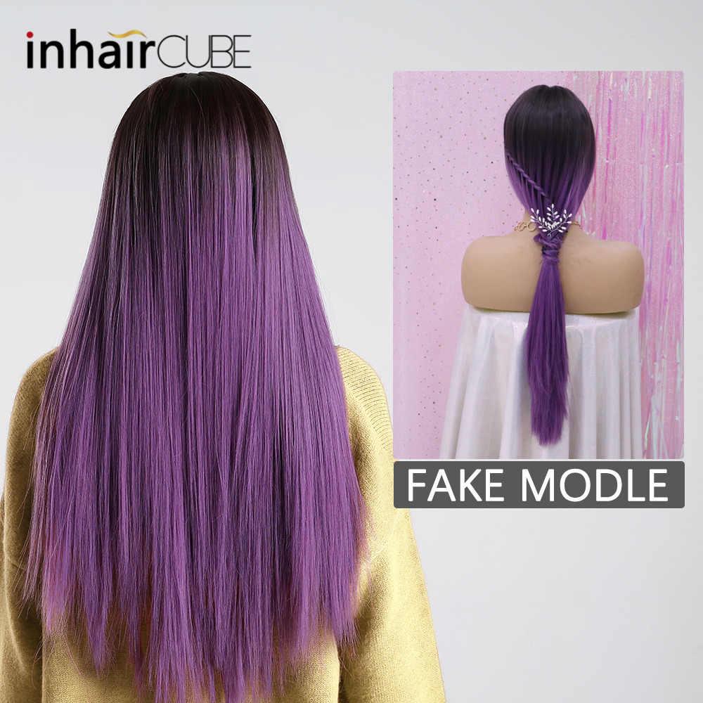 """Inhair cube 26 """"синтетический парик с Синтетические чёлки волос для женщин, с длинными волосами высокое температура Ombre Mix Фиолетовый парик для косплея"""