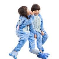 2018 New Blue Pajamas Kids Winter Animal Cartoon Stitch Onesie Costume Child Boys Girls Pyjama Christmas