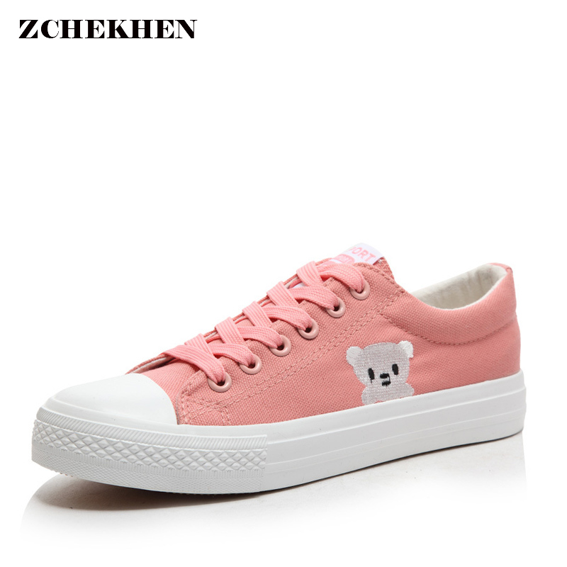 Women Casual Sneakers Fashion Embroider Canvas Shoes Female Spring Summer Woman Students Walking Shoes Zapatos Tenis Feminino