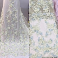 Beautifical african lace fabrics 3d flowres french net lace fabric with beads Latest design embroidery beaded tulle lace ZRN68