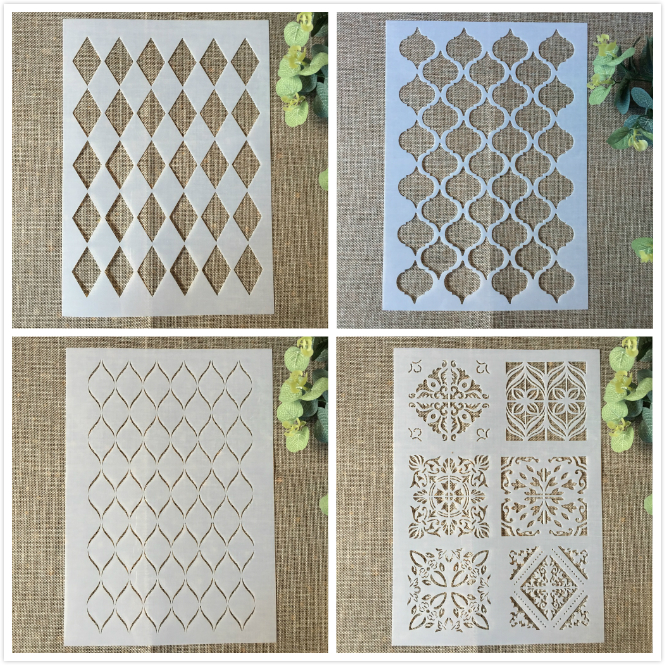 4Pcs 29cm A4 Geometry Diamond Square DIY Layering Stencils Painting Scrapbook Coloring Embossing Album Decorative Card Template