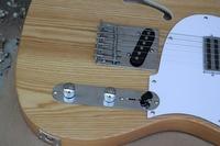 TL electric guitar, Ash semi hollow wood color vertical custom guitar, silver chrome hardware Free shipping
