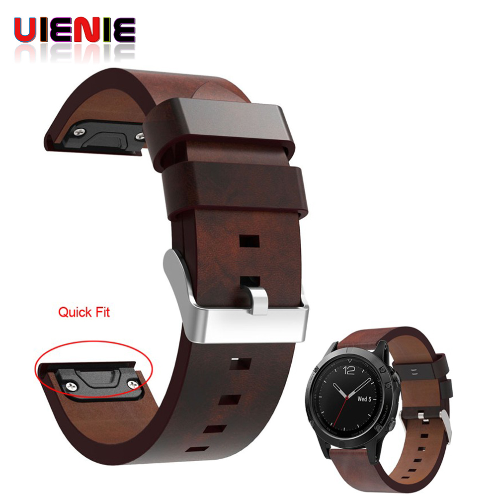 UIENIE Luxury Leather Strap Replacement 22mm Watch Band With Quick Fit For Garmin Fenix 5/Forerunner 935/Approach S60 Bracelet