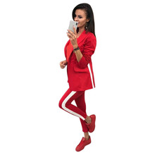 MVGIRLRU Pant Suits Long-Blazer-Jacket Two-Piece-Sets Single-Button Womens Workwear Chic