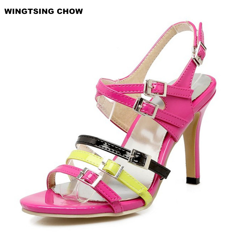 New Buckle Summer Sandal Women Shoes Fashion Large Size 43 Sexy High Heels Casual Shoes Woman Sandals Pumps woman fashion high heels sandals women genuine leather buckle summer shoes brand new wedges casual platform sandal gold silver