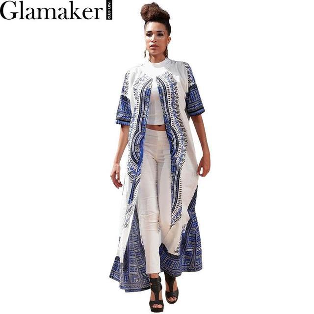 Glamaker Verão impressão de manga curta manto trincheira 2016 outono solta étnica casual trench coat para as mulheres Elegante protetor solar cardigan
