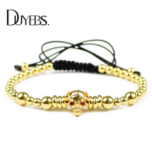 DUYEBS Fashion Men Skull Charms Bracelet 4mm Copper Beads Zircon Lucky Braided Rope Women Bangle Jewelry Pulseira Masculina Gift