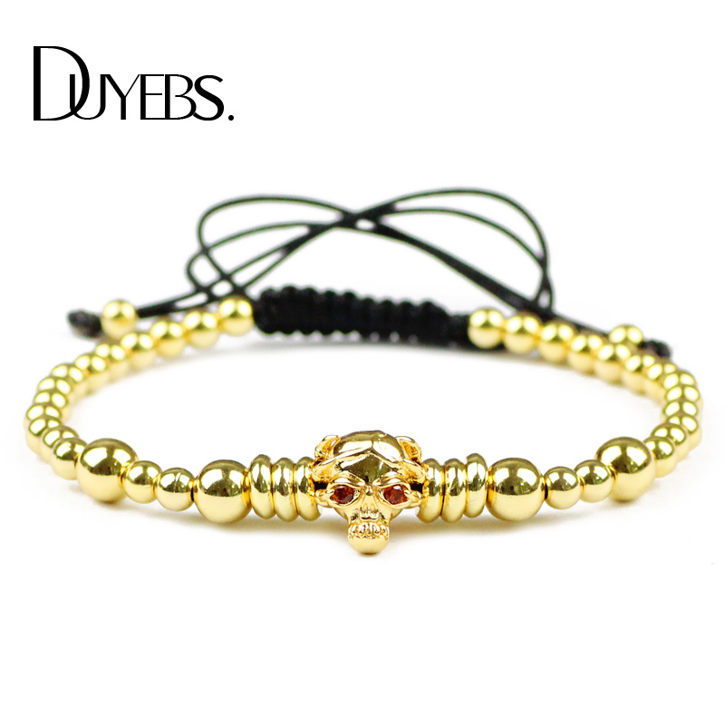 DUYEBS Fashion Men Skull Charms Bracelet 4mm Copper Beads Zircon Lucky Braided Rope Women Bangle Jewelry Pulseira Masculina Gift ...