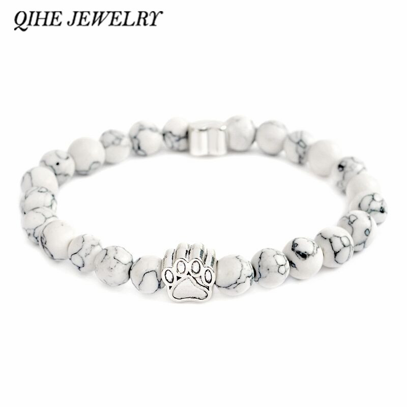 QIHE JEWELRY Tiny Anitique Silver Paw Charm Stone Pulsera Pet Memorial Cat Dog Lovers Joyería Para Hombres Mujeres Unisex