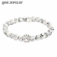 QIHE JEWELRY Tiny Anitique Silver Paw Charm Stone Bracelet Pet Memorial Cat Dog Lovers Jewelry For Men Women Unisex