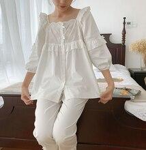 Kadın Lolita kare yaka pijama takımı. Ruffles işlemeli Tops + uzun pantolon. Vintage pijama seti. Victoria pijama Loungewear