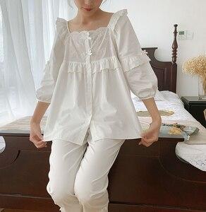 Image 1 - Womens Lolita Square Collar Pajama Set.Ruffles Embroidered Tops+Long Pants.Vintage Pyjamas Set.Victorian Sleepwear Loungewear