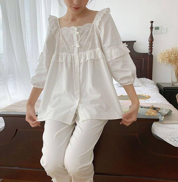 Womens Lolita Square Collar Pajama Set.Ruffles Embroidered Tops+Long Pants.Vintage Pyjamas Set.Victorian Sleepwear Loungewear