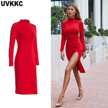 Uvkkc Women Dresses 2018 Autumn Fashion Female Vestido Split Turtleneck Thin Solid Causal Elegant Mini Bodycorn Dress For