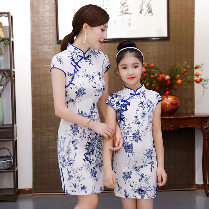 Chinese Tradition Style Cheongsam For Girl And Women Summer New Cotton Linen Evening Party Qipao Princess Dress