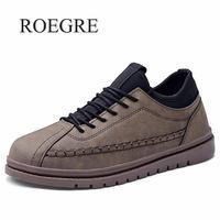 Men Casual Shoes 2019 Spring Autumn Leather Male Shoes Black Gray Gentlemen Party Dress Shoes Outdoor Sneakers Men Size 39 47