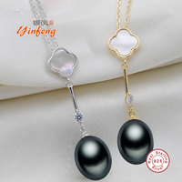 Yinfeng 9 10mm Big Size Pearl Necklace Elegant 925 Sterling Silver Small Flower Pendant Necklace