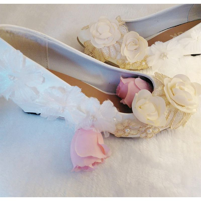 Champagne white flowers wedges heel wedding pumps shoes woman round toes  bride bridal flower girl dress shoe custom handmade-in Women s Pumps from  Shoes on ... 6a44674ff477