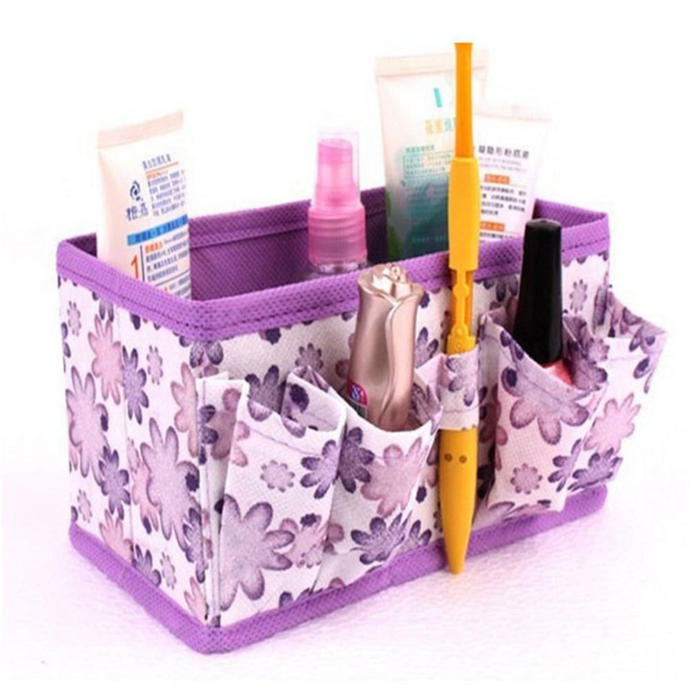 New Makeup Cosmetic flower Box Bag Bright Organiser Foldable Stationary Container Organizer Holder Handbag use for make up Set