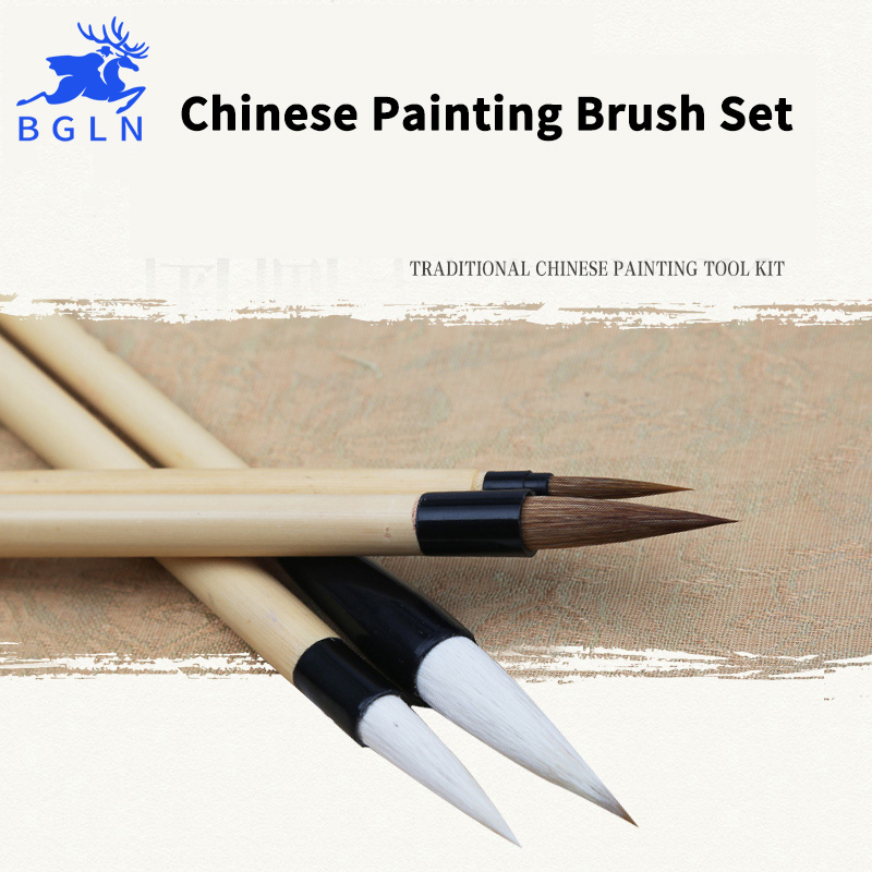 BGLN 4Pcs Chinese Writing Painting Brushes Set Calligraphy Pen Artist Drawing Brush For Watercolor Painting Brush Art Supplies