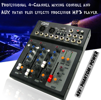 Professional 2 Channel Mono 4 Channels Karaoke Microphone DJ Mixer Audio Mixer Console USB Digital Processor