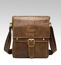 где купить NEW Nubuck Leather Retro Crossbody Bag Men Top Layer Cowhide Small Zipper Flap Bag Designer Real Leather Brown Shoulder Bag по лучшей цене