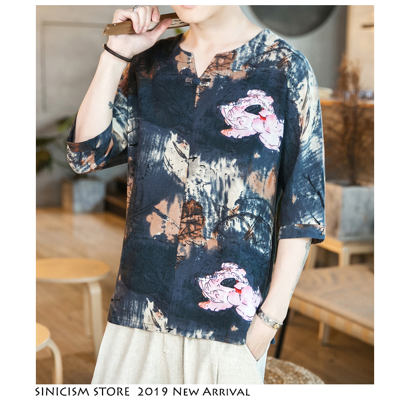 Sinicism Store 2019 Men Print Chinese Style Tshirts Mens Harajuku Cotton Linen Tshirt Male Fashion Buckle T-Shirt Oversize