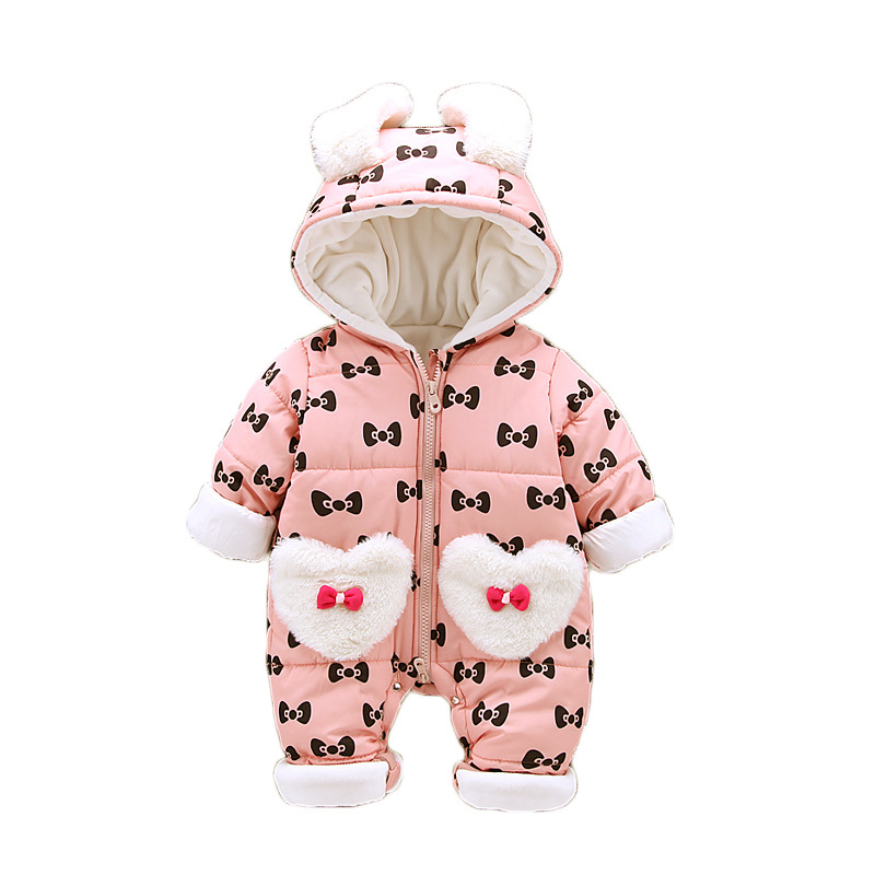 Winter Newborn Rompers Thick Warm Baby Girls Clothes 2018 Brand Print Toddler Baby Jumpsuit Overalls Infant Clothing Outfit free shipping winter newborn infant baby clothes baby boys girls thick warm cartoon animal hoodie rompers jumpsuit outfit yl page 4