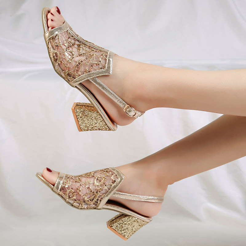 2018 Summer Women Sandals Gold Open Toe Sandal Lace Dress Shoes Woman High  Heels Sandals Square 668e30daf401