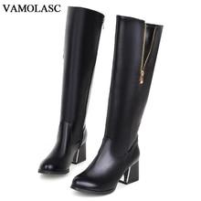 VAMOLASC New Women Autumn Winter Warm Leather Mid Calf Boots Zipper Square Med Heel Boots Platform Women Shoes Plus Size 34-42
