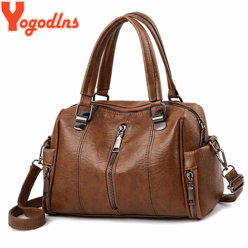 Yogodlns High Quality PU leather Women Bag Handbag Casual Large Capacity Hobos Female Totes Bolsas Vintage Solid  Shoulder Bag