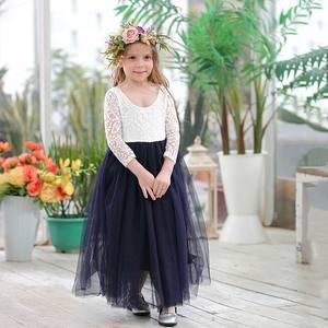 Image 3 - Toptan kız prenses elbise ayak bileği uzunluk düğün parti elbise kirpik geri beyaz dantel plaj elbise çocuk giyim E15177