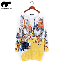 2016 spring fashion and high quality women's print pullover sweater long design sweater dress plus size loose basic sweater