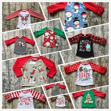 5 designs in stock Christmas Fall/winter baby girls Christmas raglans Christmas gift Christmas tree top tee kids wear clothing