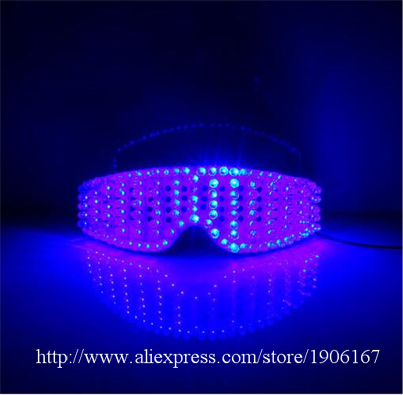 New Design Blue Led Luminous Party Glasses Light Up Halloween Chirstmas Eyewear DJ Singer Dancer Stage Glasses