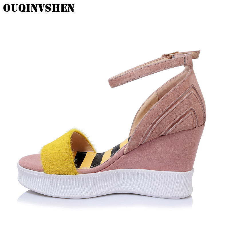 OUQINVSHEN Buckle Wedges Sandals Round Toe Open toe Platform Sandals Casual Fashion High Heels Women Sandals Horsehair Sandal sgesvier fashion women sandals open toe all match sandals women summer casual buckle strap wedges heels shoes size 34 43 lp009