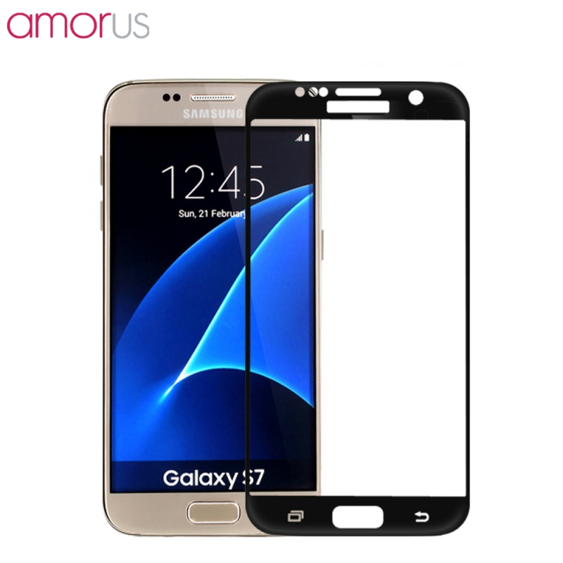 Original AMORUS for Samsung Galaxy S7 G930 <font><b>Silk</b></font> <font><b>Print</b></font> <font><b>Full</b></font> <font><b>Size</b></font> <font><b>Curved</b></font> <font><b>Tempered</b></font> Glass Screen Protector